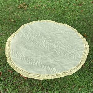 "VTG Yellow Tablecloth 61"" Round"